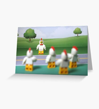 Chicken Suit Guy - Crossing the Road Greeting Card