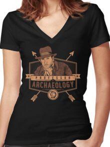 Professor of Archaeology Women's Fitted V-Neck T-Shirt
