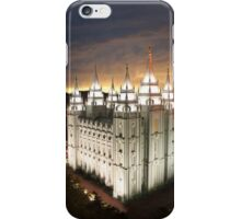Salt Lake Temple Cloudy Sunset 20x30 iPhone Case/Skin