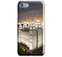 Salt Lake Temple Cloudy Sunset 20x30 iPhone Case/Skin