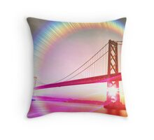 Surreal Perspective of The Bay Bridge Throw Pillow
