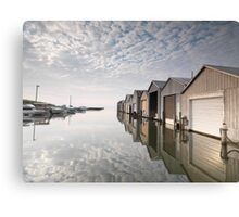 Boat Houses at Lake Erie art photo print Canvas Print