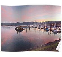 Boats at sunset in the John Wayne Marina Poster
