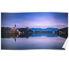 Church in the middle of Lake Bled Poster