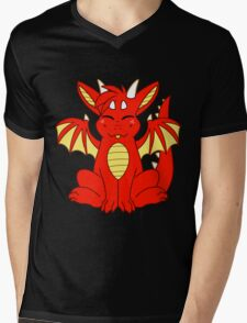 Cute Chibi Red Dragon Mens V-Neck T-Shirt