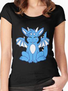 Cute Chibi Blue Dragon Women's Fitted Scoop T-Shirt