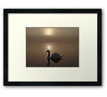 Swan Lake in the Mist Framed Print