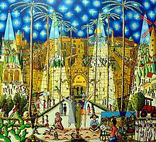 jerusalem naive painting art raphael perez paintings israeli painter  by raphael perez