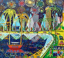 fireworks on tel aviv beach naive paintings by raphael perez  by raphael perez