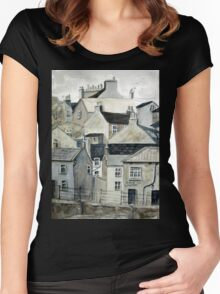 The Sea Front, Staithes Women's Fitted Scoop T-Shirt