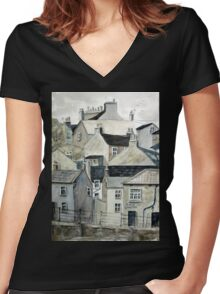 The Sea Front, Staithes Women's Fitted V-Neck T-Shirt
