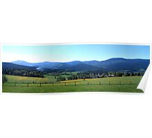 Flowering meadows and rolling hills in spring Poster