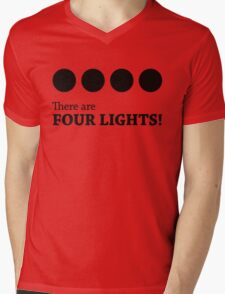 There are FOUR LIGHTS! (Black Ink) Mens V-Neck T-Shirt