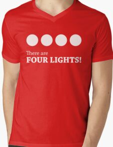 There are FOUR LIGHTS! (White Ink) Mens V-Neck T-Shirt