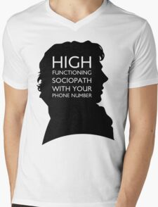 High Functioning Sociopath with your phone number Mens V-Neck T-Shirt