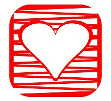 Red Rounded Heart Square by kwg2200