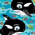 Cute Killer Whale & Fish by MurphyCreative