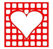 Red Blocks Heart Square by kwg2200