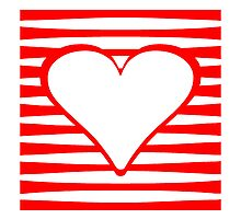 Red Horizontal Stripes Heart Square by kwg2200