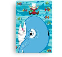 Cartoon Jonah & the Whale Canvas Print