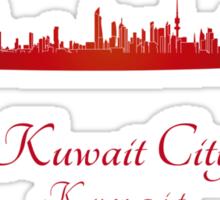 Kuwait City skyline in red Sticker