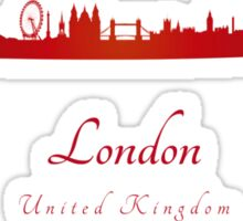 London skyline in red Sticker