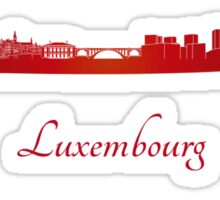 Luxembourg skyline in red Sticker