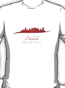 Nashville skyline in red T-Shirt