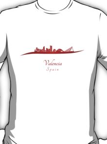 Valencia skyline in red T-Shirt