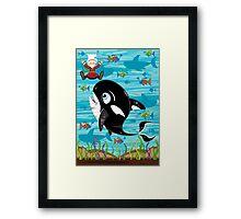 Cartoon Jonah & the Whale Framed Print