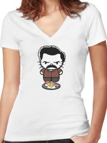 Hello Bacon and Eggs Women's Fitted V-Neck T-Shirt