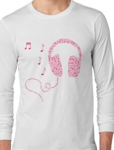Music Notes Headphones by AiReal Apparel Long Sleeve T-Shirt