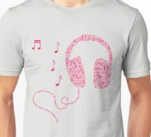 Music Notes Headphones by AiReal Apparel Unisex T-Shirt