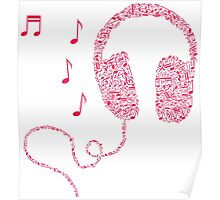 Music Notes Headphones by AiReal Apparel Poster