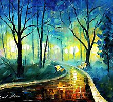 Blue Fog — https://www.etsy.com/listing/155543328/blue-fog-palette-knife1-oil-painting-on? by Leonid  Afremov