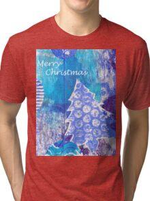 Xmas Card Design 105 in Blue Tri-blend T-Shirt