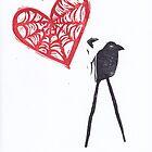 Strange Love Raven with Cob Web Heart by craftyhag