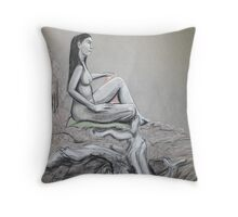 girl seated in grey Throw Pillow