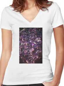 Pretty in Purple Flowers Women's Fitted V-Neck T-Shirt