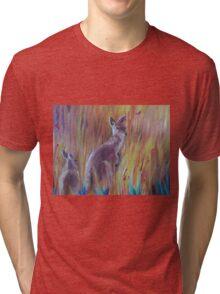 Kangaroos in Long Grass Tri-blend T-Shirt