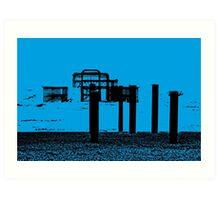 West Pier - Mono in Blue Art Print