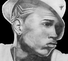 Chris Brown Portrait Drawing by GGgraphicdesign