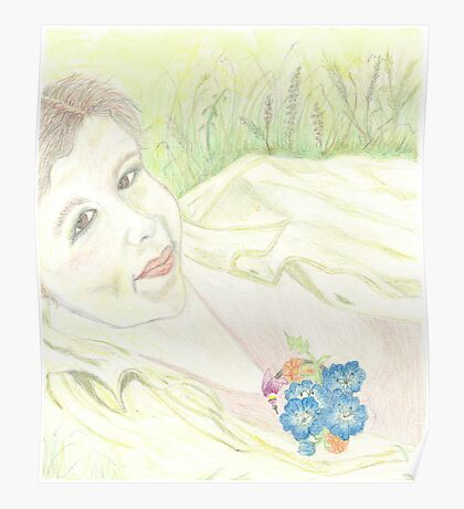 PORTRAIT ON A WILDFLOWER DAY Poster
