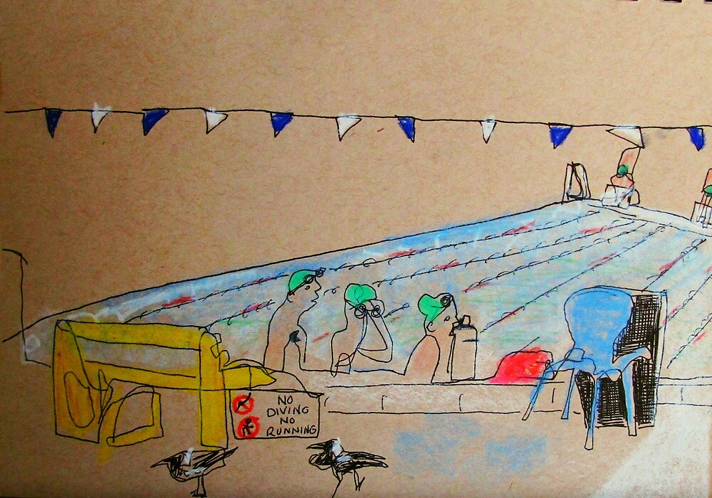 local pool scene 6.30 am by donna malone