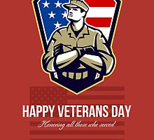 American Soldier Veterans Day Greeting Card by patrimonio