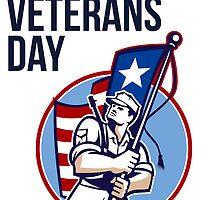 American Veteran Serviceman Greeting Card by patrimonio