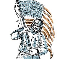 American Soldier Happy Veterans Day Greeting Card by patrimonio