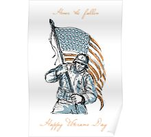 American Soldier Happy Veterans Day Greeting Card Poster