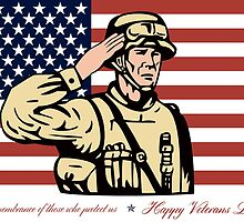 Happy Veterans Day Greeting Card Soldier Salute by patrimonio