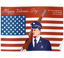 American Veterans Day Greeting Card Retro Poster